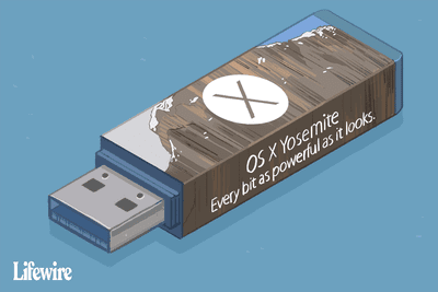 Illustration of a USB stick with label OS X Yosemite
