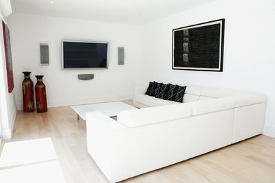 Home theater with in-wall speakers