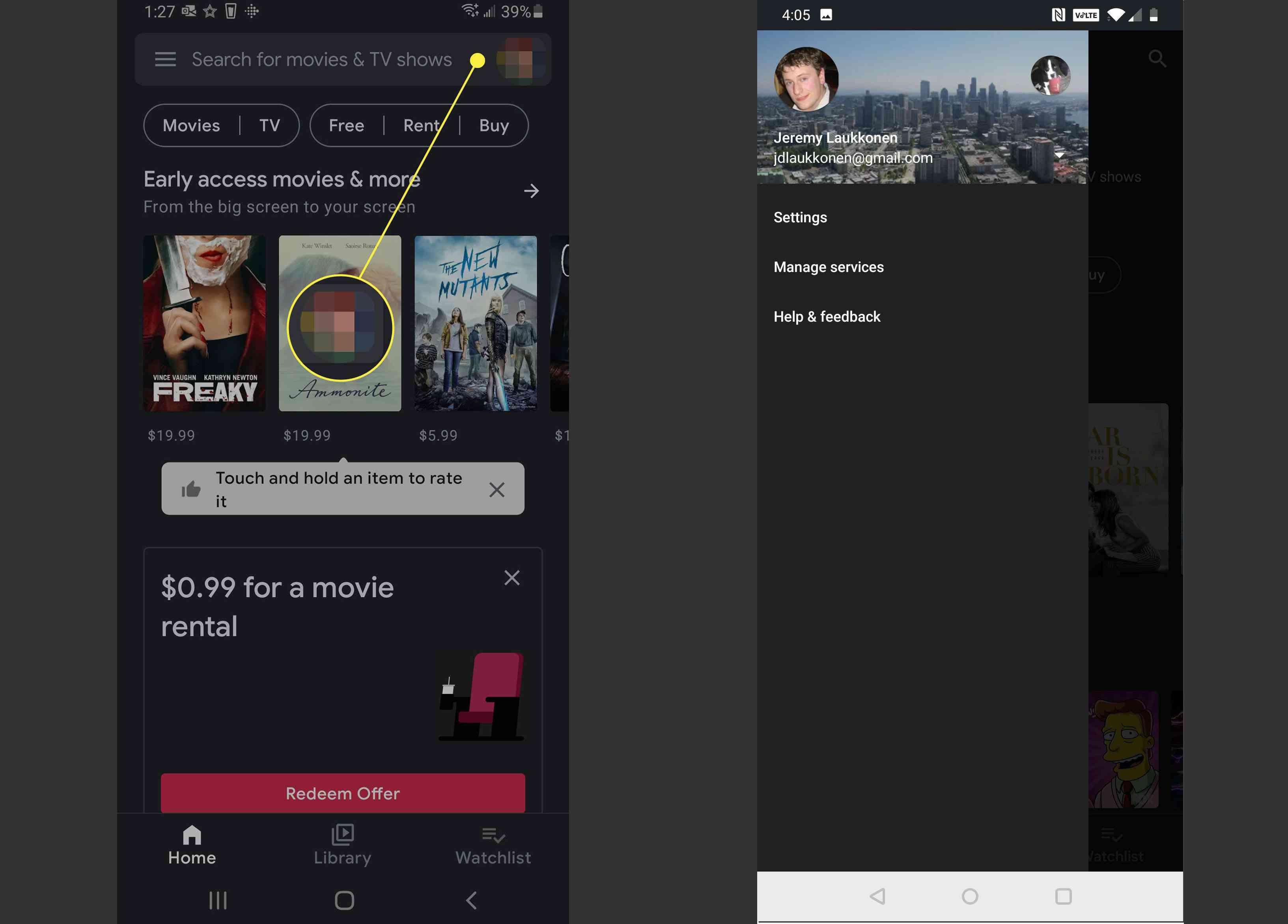 Google Play Movies app user menu.