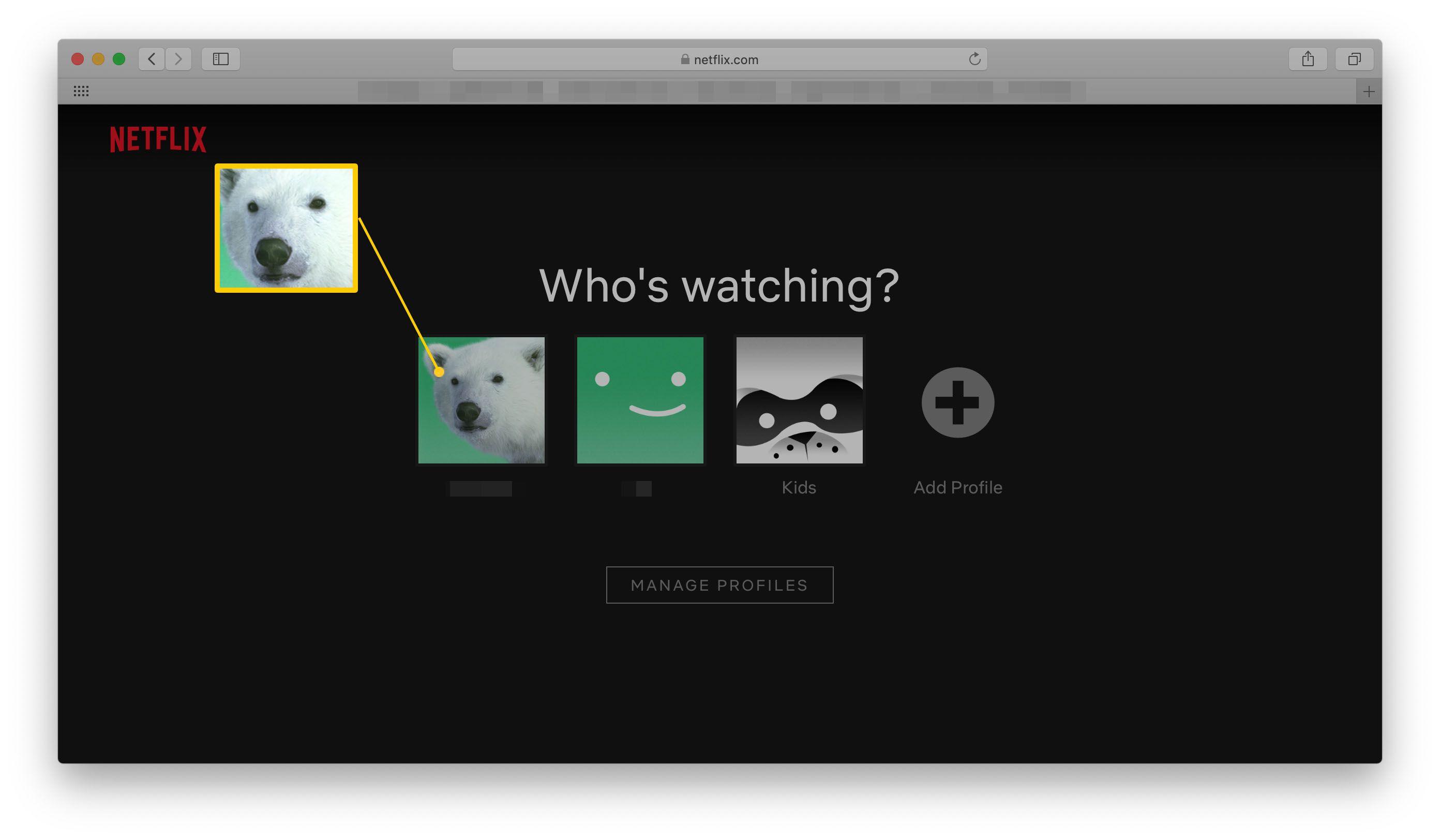Netflix profile page