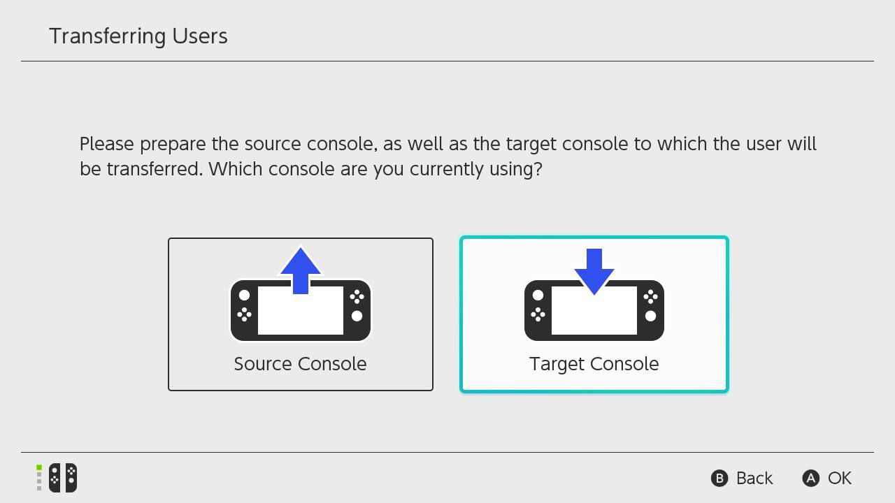 Repeat steps 1-4 on the other Switch system, then select Target Console.