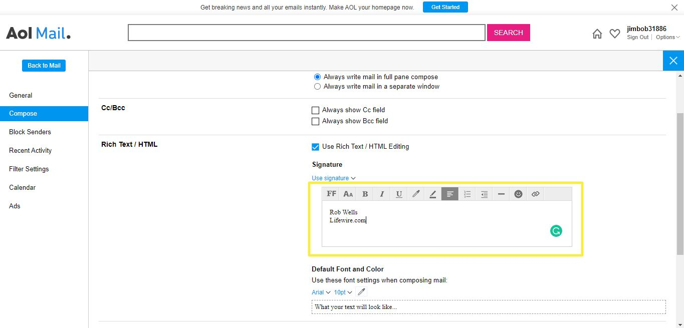 Signature text field in AOL Mail settings
