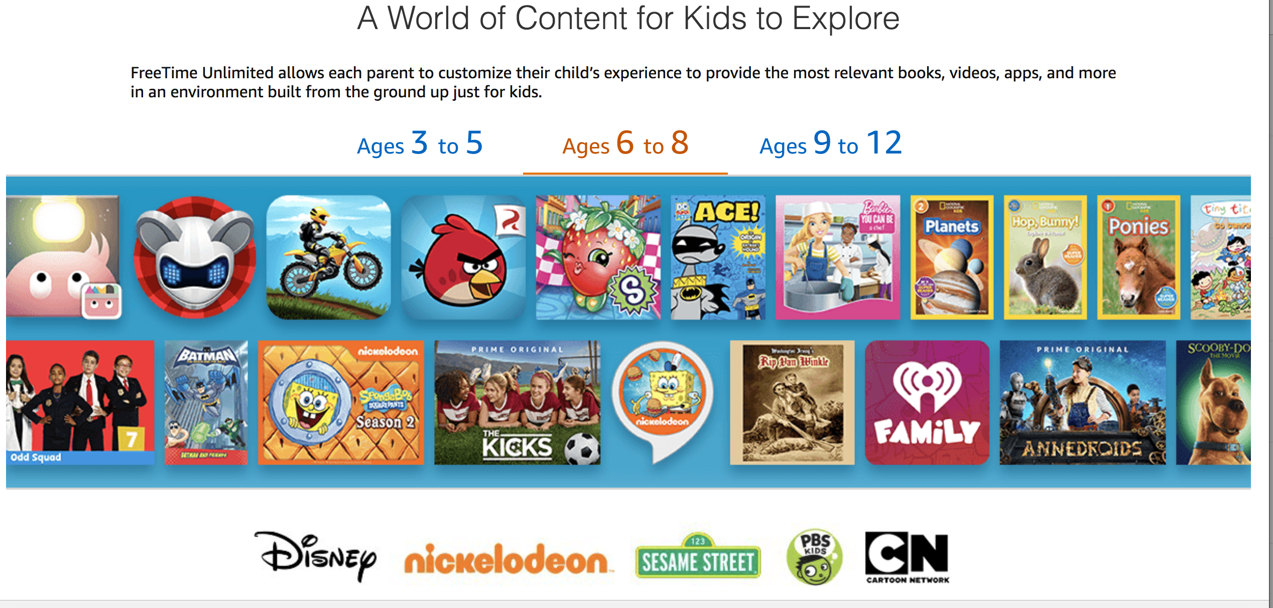 Screenshot of Amazon FreeTime Unlimited with content for 6-8 year olds