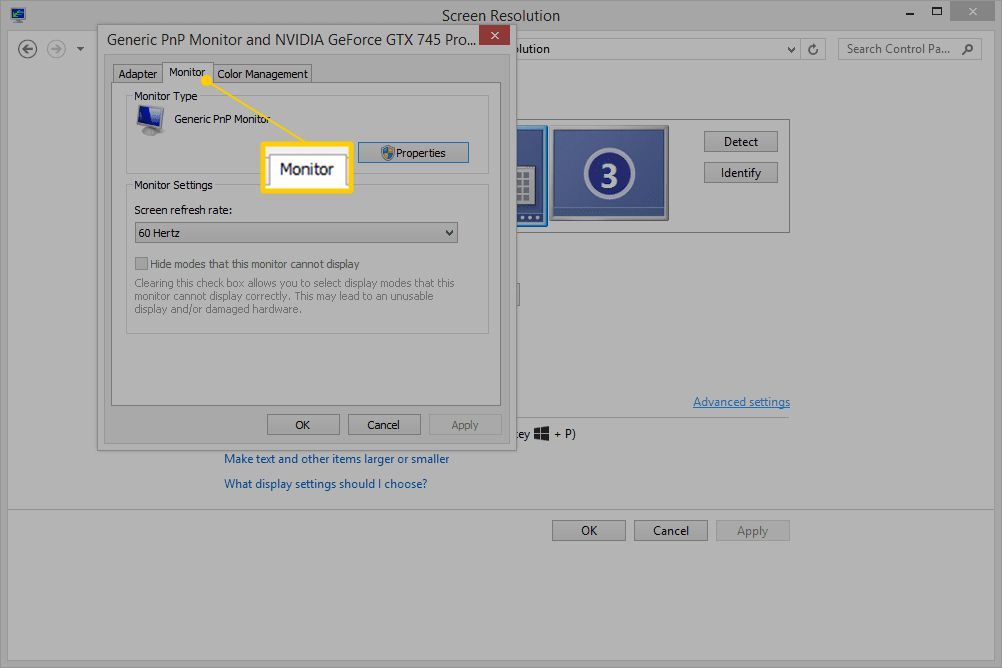 Monitor tab in Windows