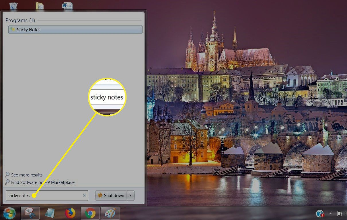 Screenshot of Sticky Notes in Start Search in Windows 7