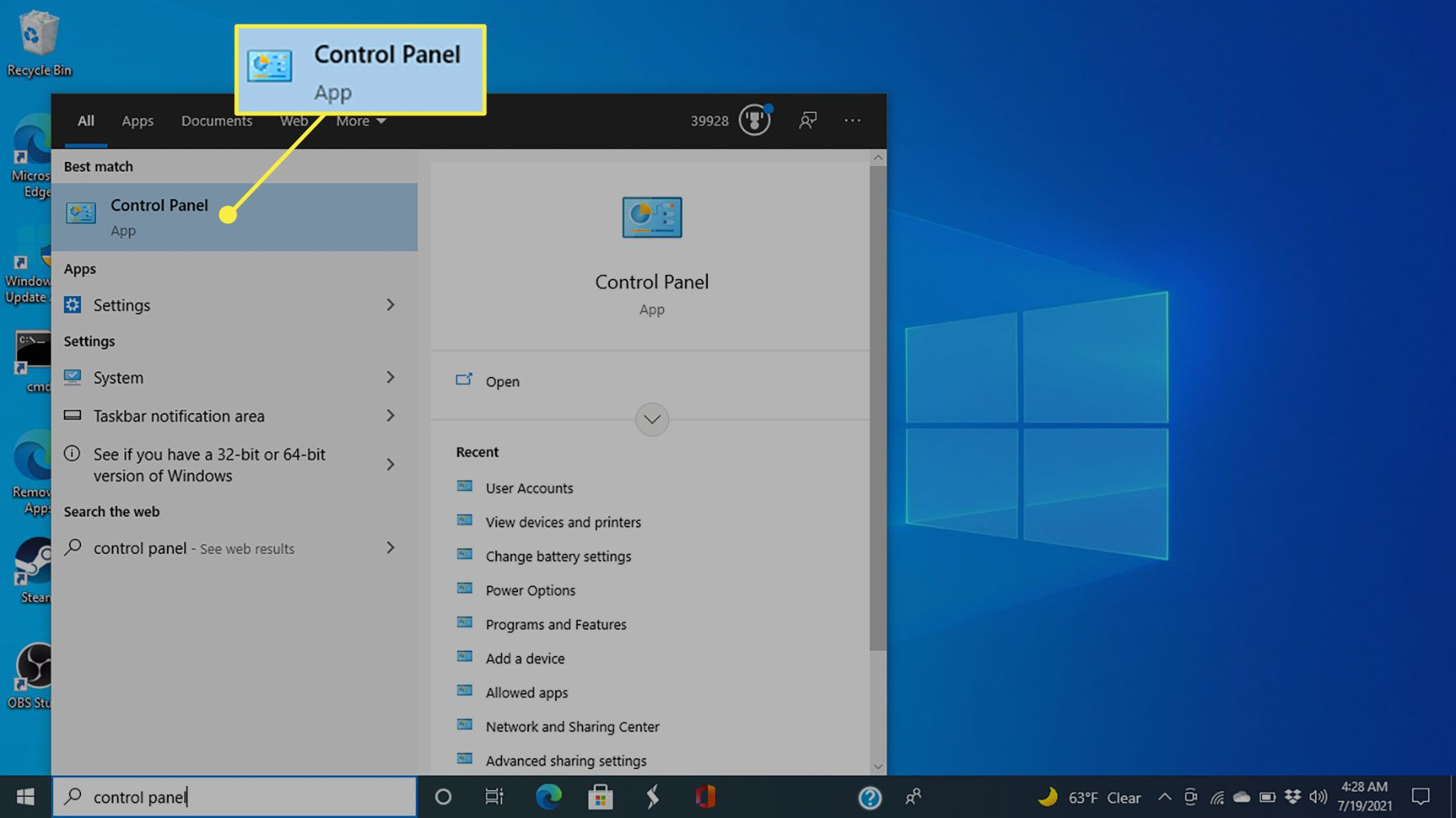 Control Panel in Windows 10 search results