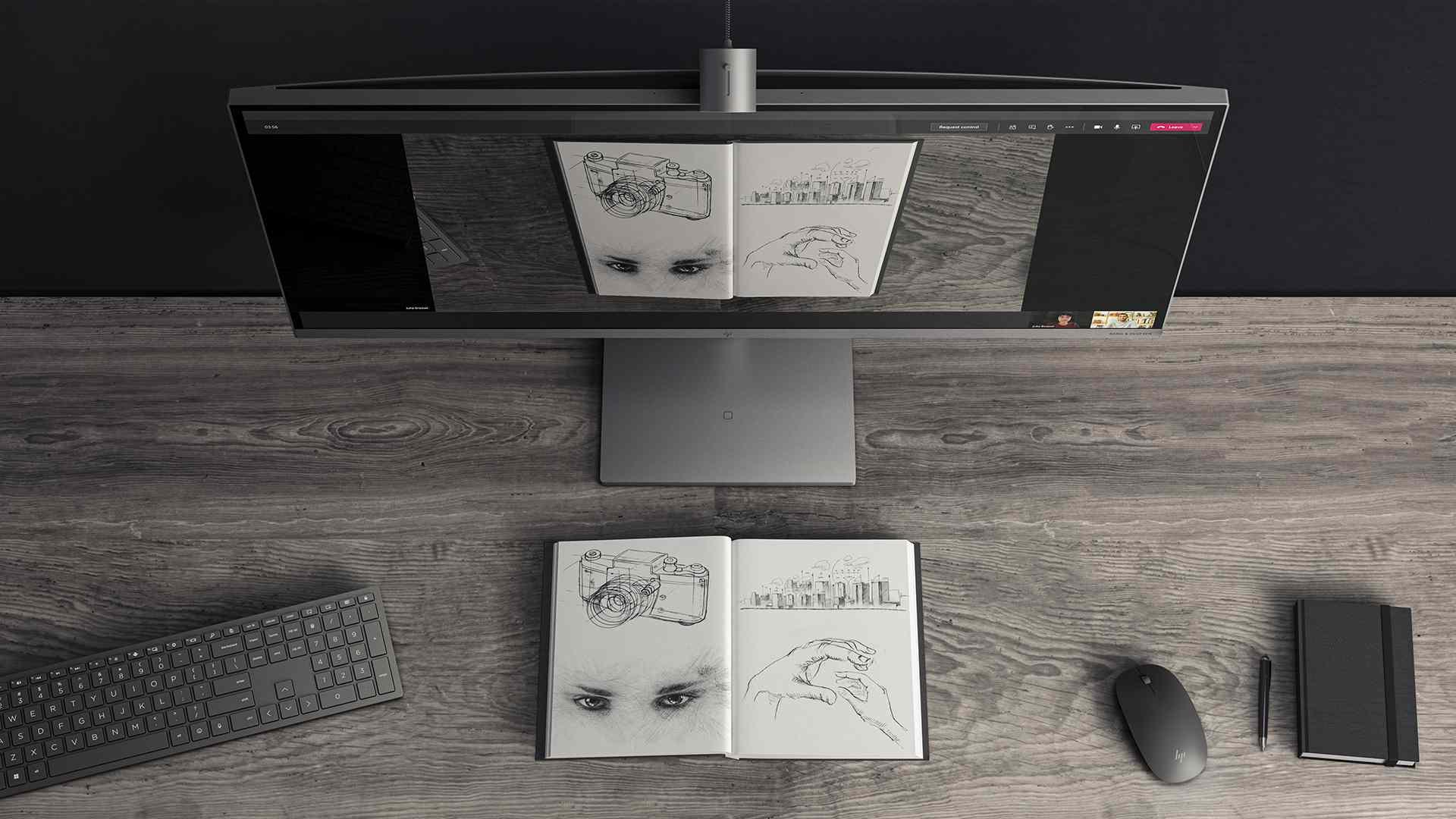 Sketchbook being shared using HP Envy 34-inch All-In-One desktop camera