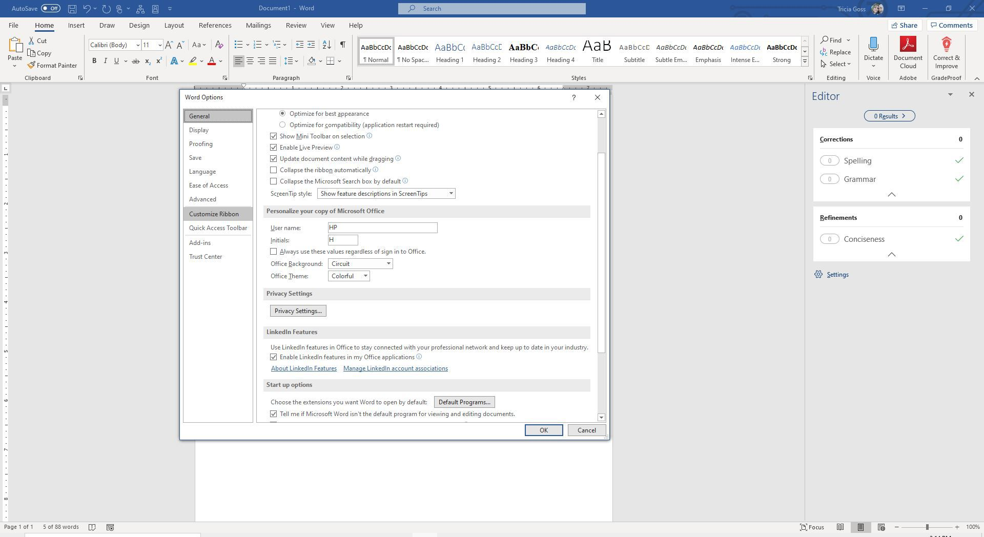 Screenshot of Customize Ribbon in Word Options
