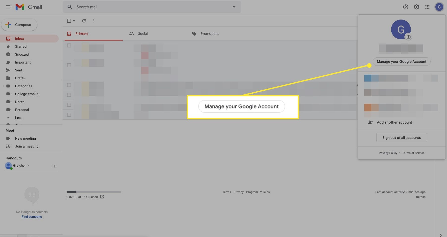 Gmail settings with Manage Your Google Account highlighted