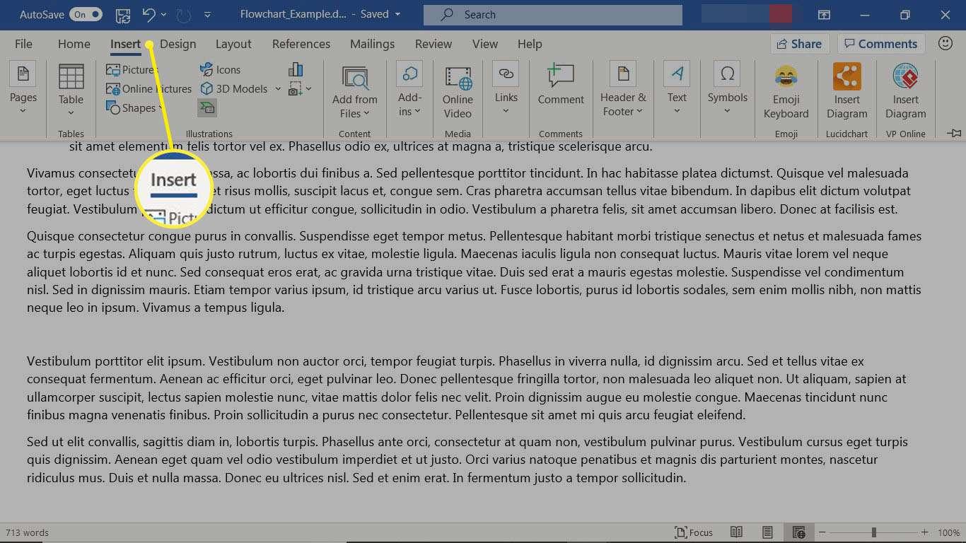 The Insert tab in Microsoft Word.