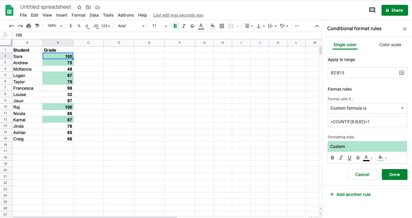 Select Done. Any duplicate information in your spreadsheet will be highlighted.