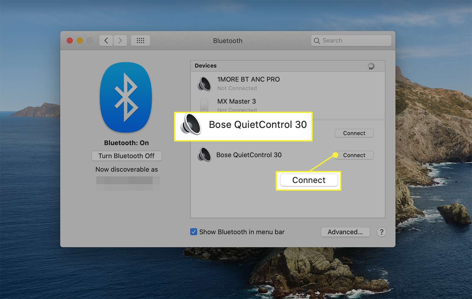 Connect option next to an available wireless device from macOS Bluetooth preferences