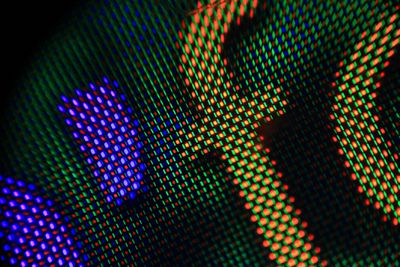 Close-up of an AMOLED screen