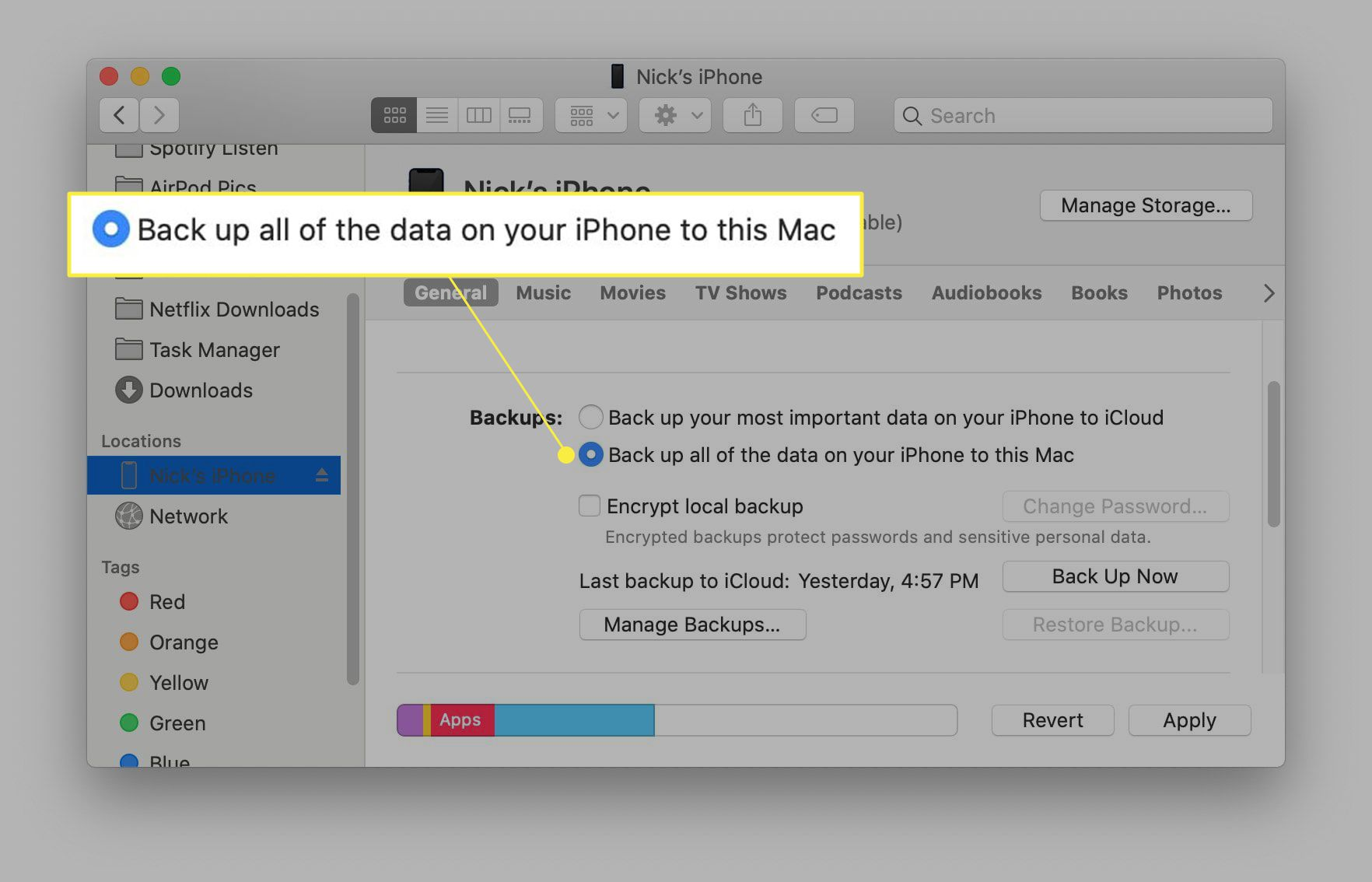 Back up all data message highlighted in Finder