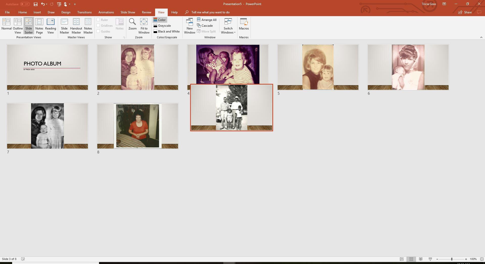 A screenshot of the PowerPoint slide sorter view.