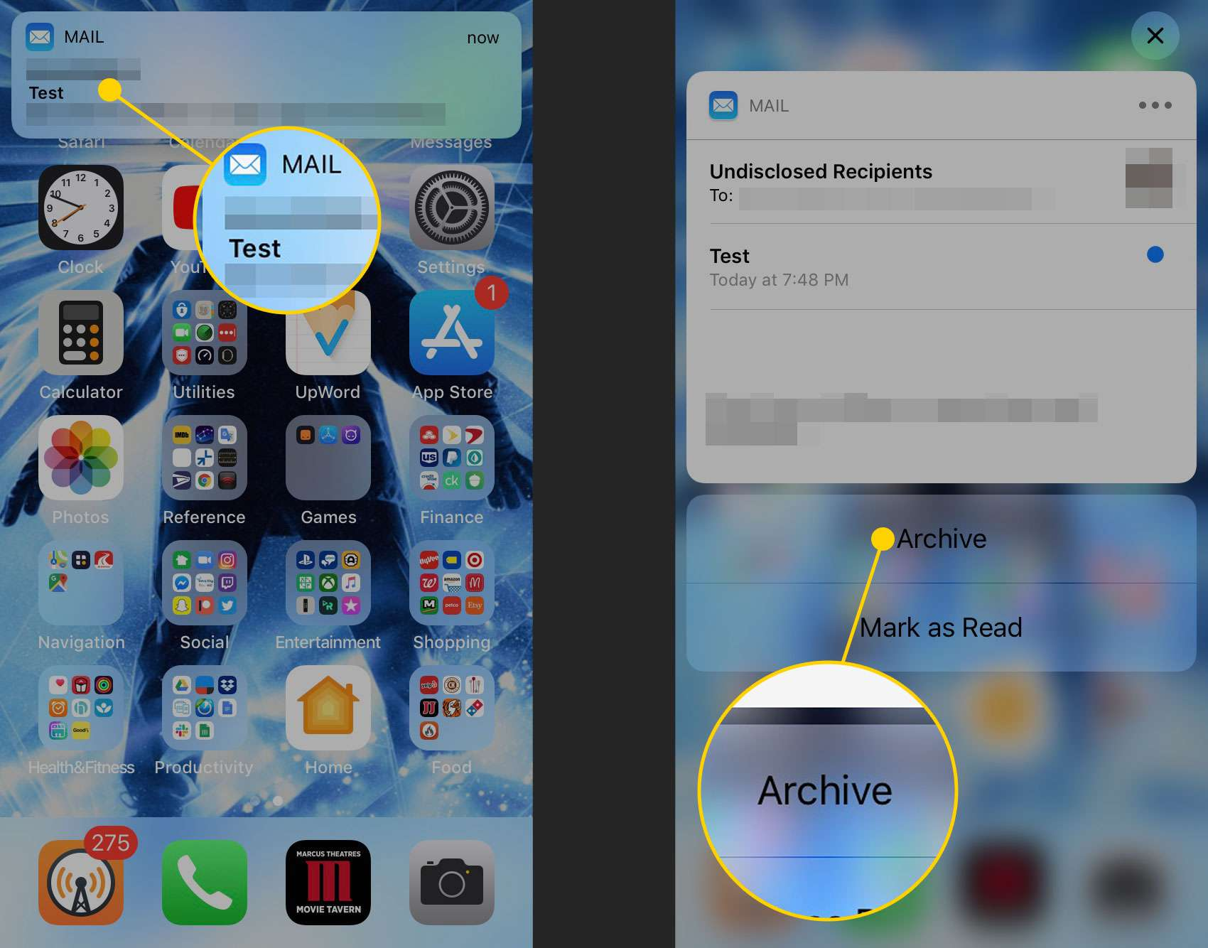 Delete Mail in iOS Mail Right From Notification Center