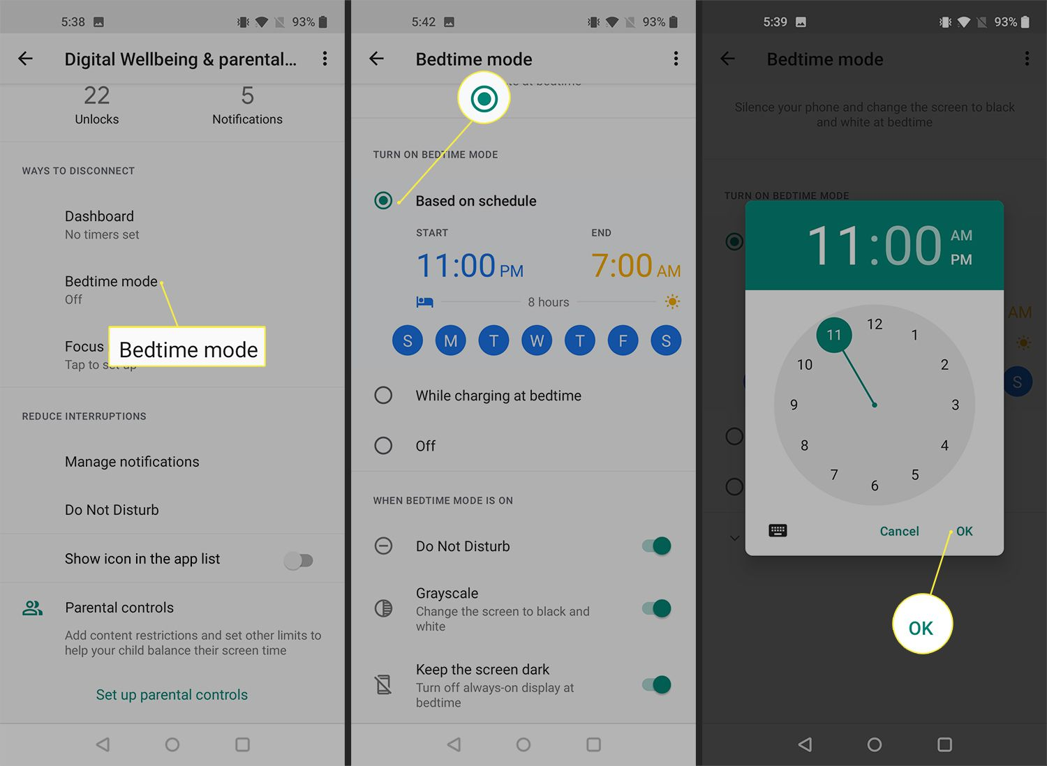 Bedtime mode scheduling options on the OnePlus 9