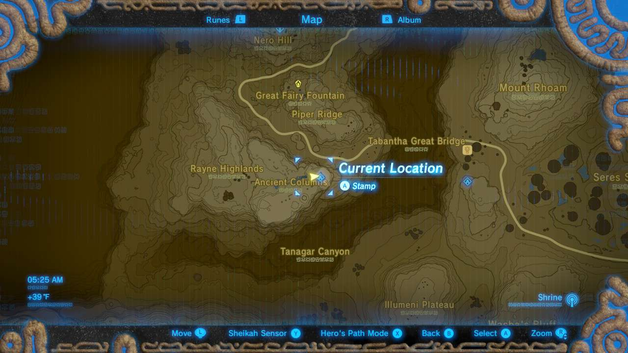 Map of Ancient Columns in The Legend of Zelda: Breath of the Wild.