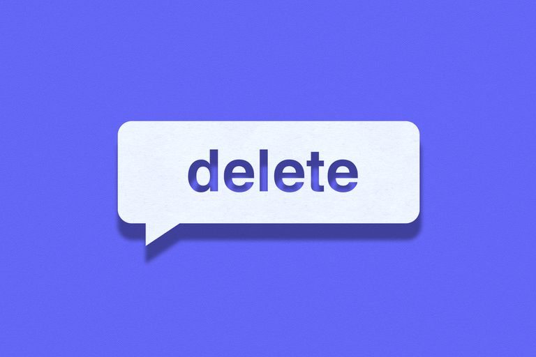 Bubble caption with the word delete in it