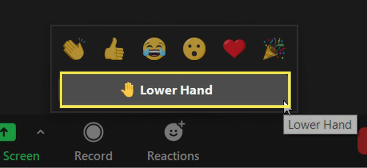The Lower Hand button in Zoom.