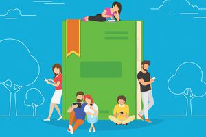 Drawing of a group of people reading ebooks on their smartphones while leaning on a giant green paper book.
