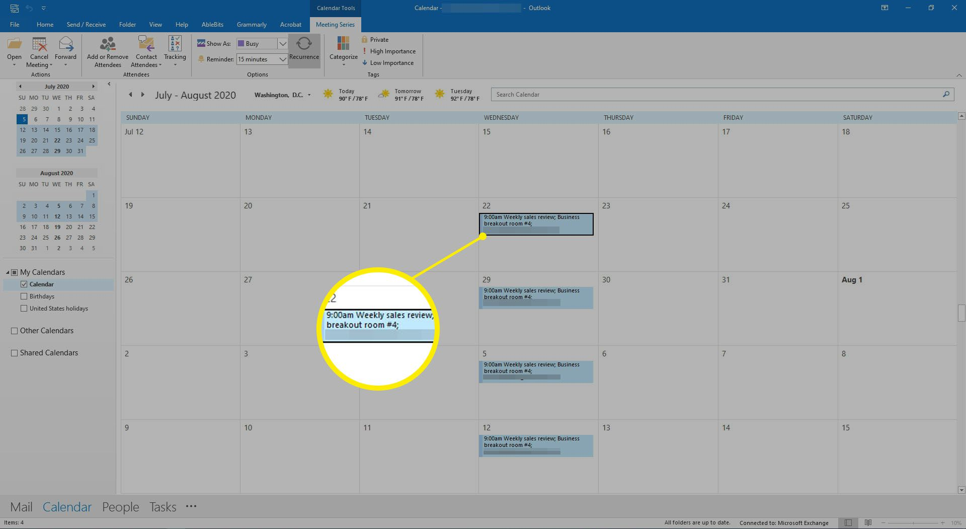 Selecting a meeting on an Outlook calendar.