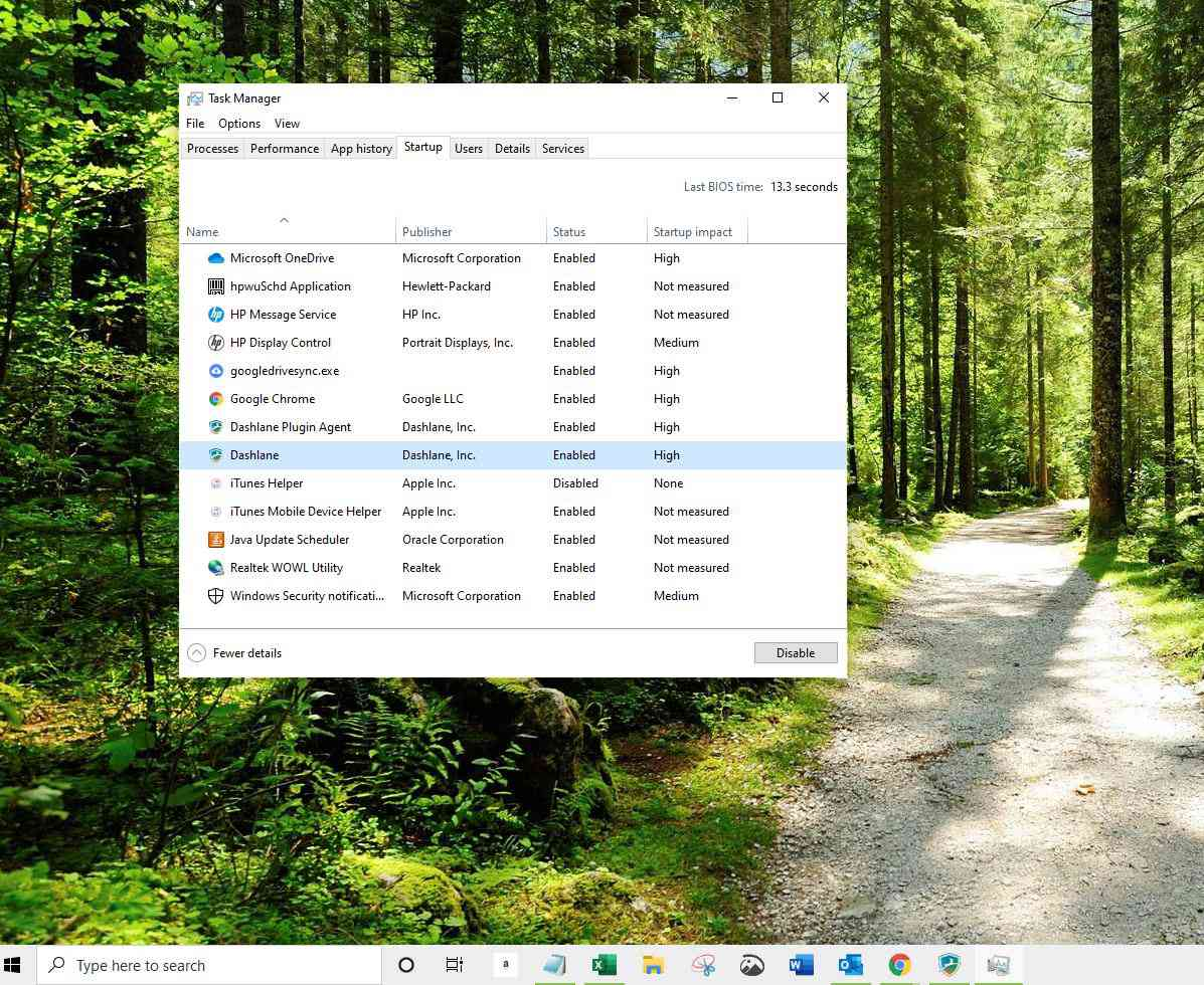 Selected program in Task Manager