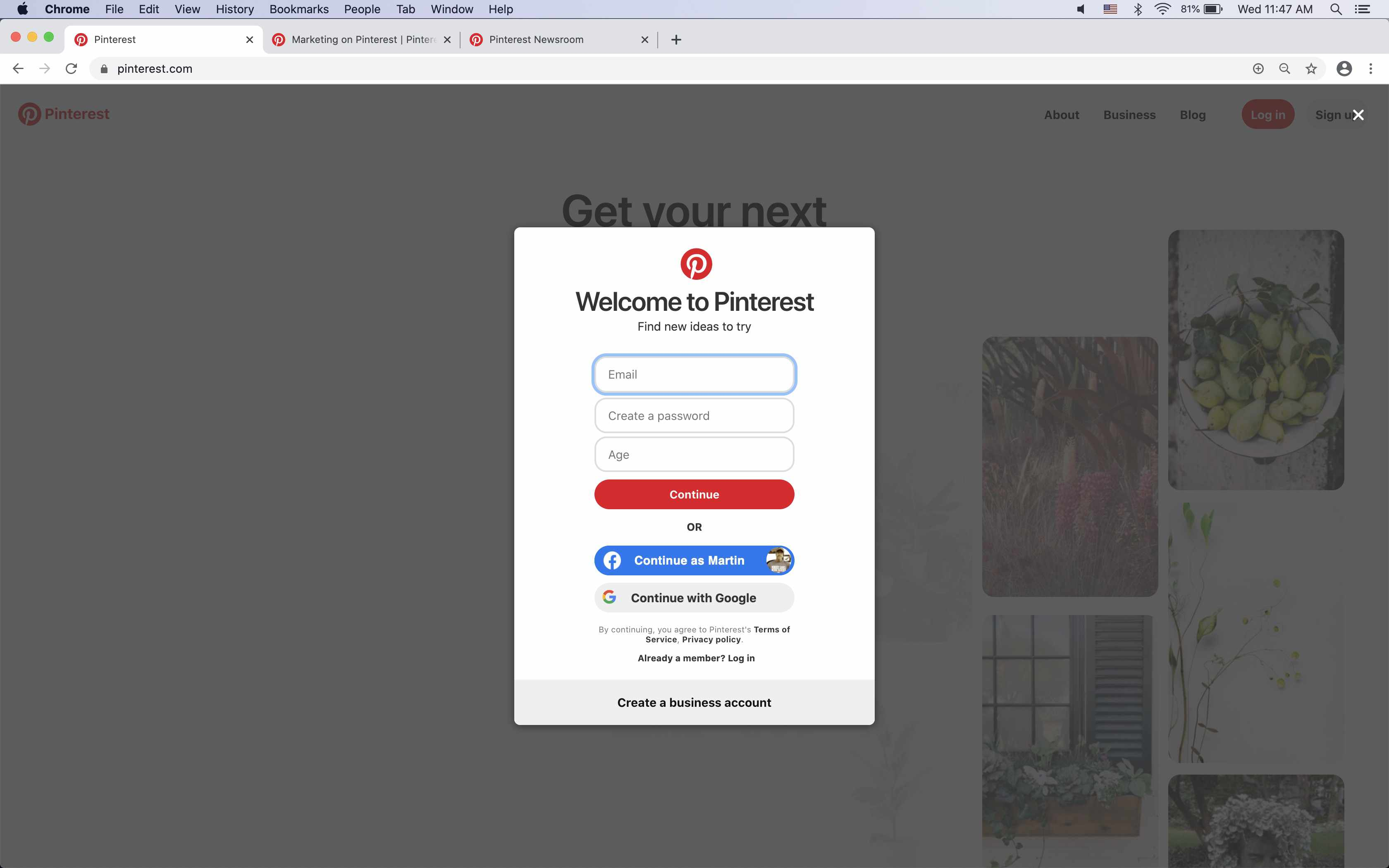 Enter email, password, and age to create a Pinterest account