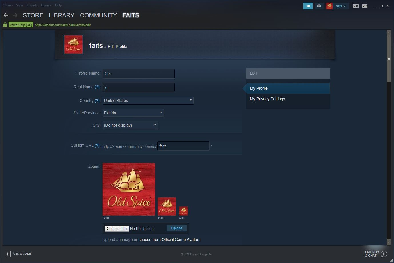 A screenshot of the Steam user profile interface.
