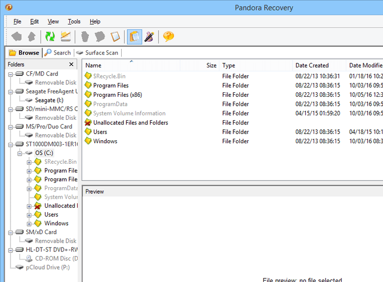 Screenshot of Pandora Recovery v2.2.1 in Windows 8