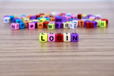 Login word and alphabet letter beads