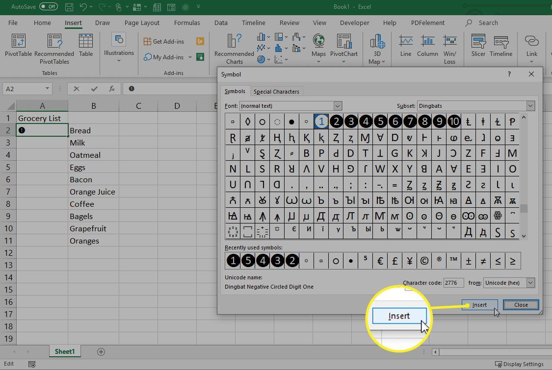 Adding numbered symbols in Excel