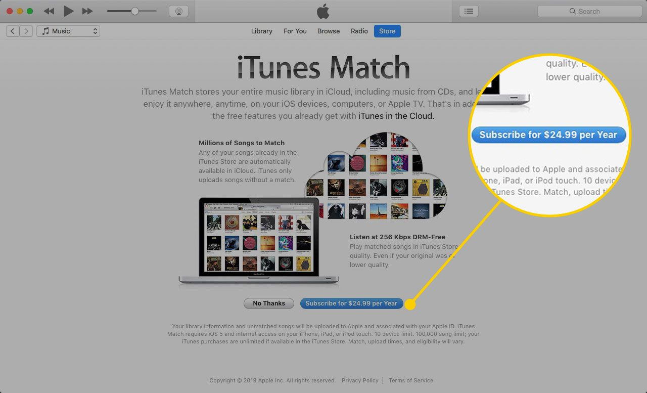 The iTunes Match screen with the Subscribe button highlighted
