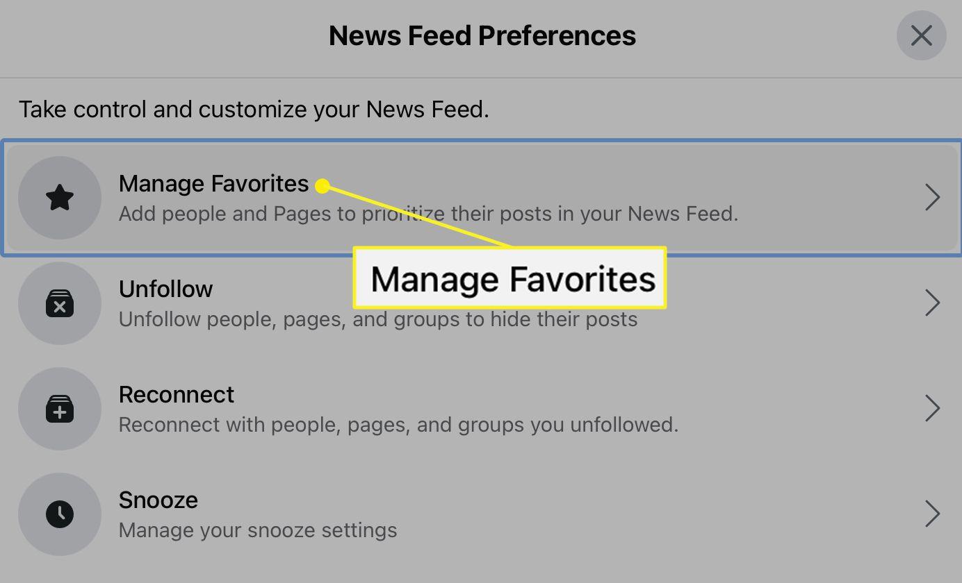 Manage Favorites option in Facebook