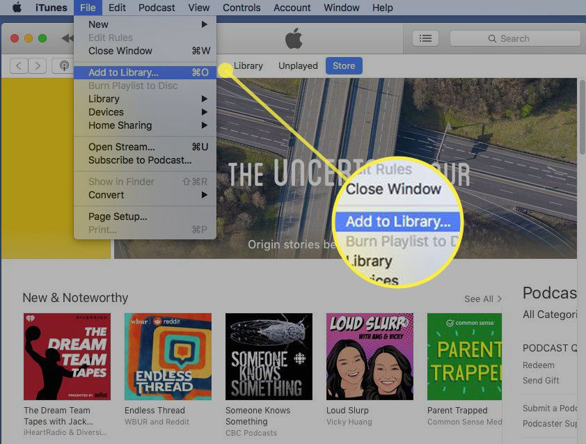iTunes with the Add to Library command highlighted