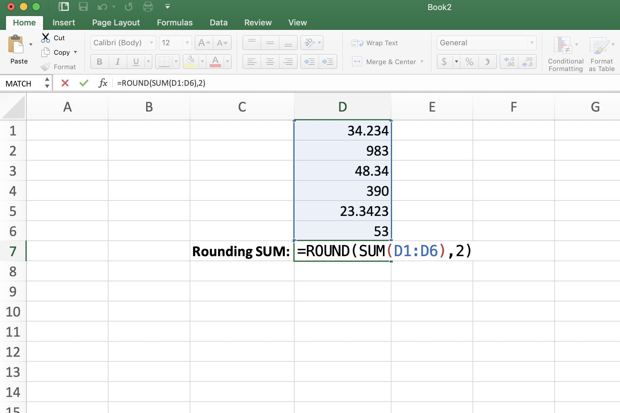 Screenshot of Excel showing nested rounding SUM