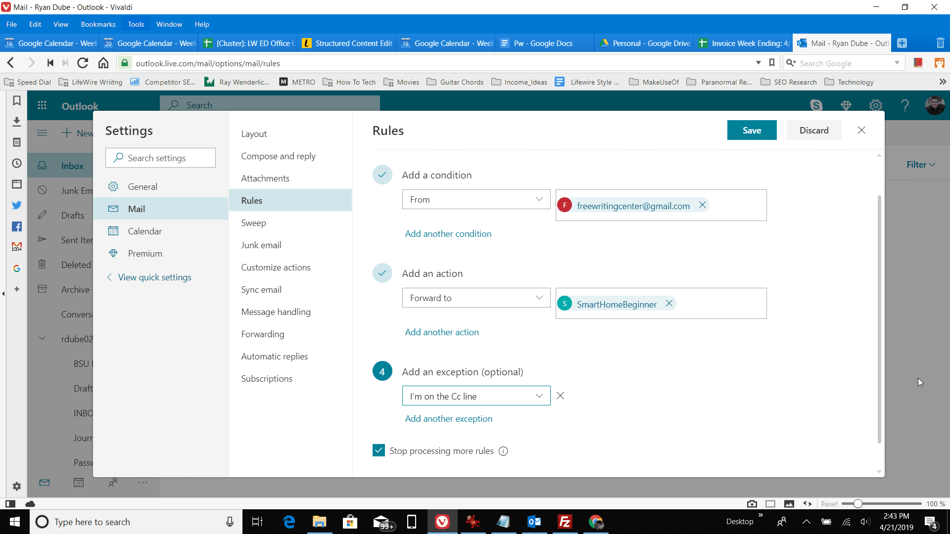 Screenshot of adding rule exception in Outlook online