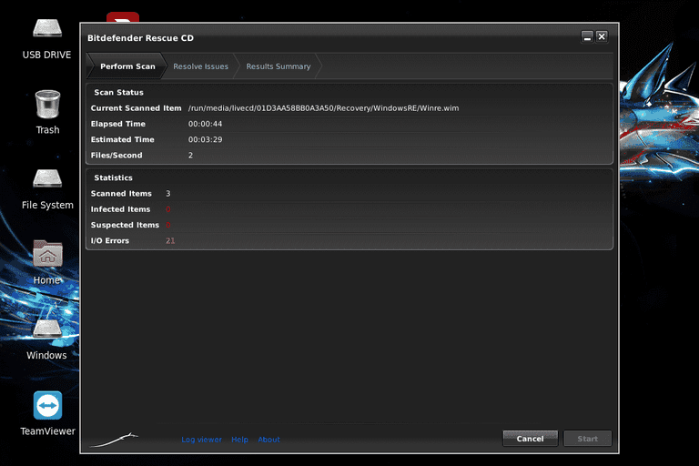 Screenshot of Bitdefender Rescue CD v2