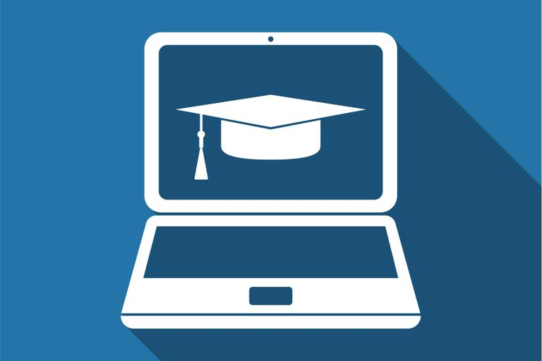 Graduation cap and laptop icon. Flat design. Vector Illustration