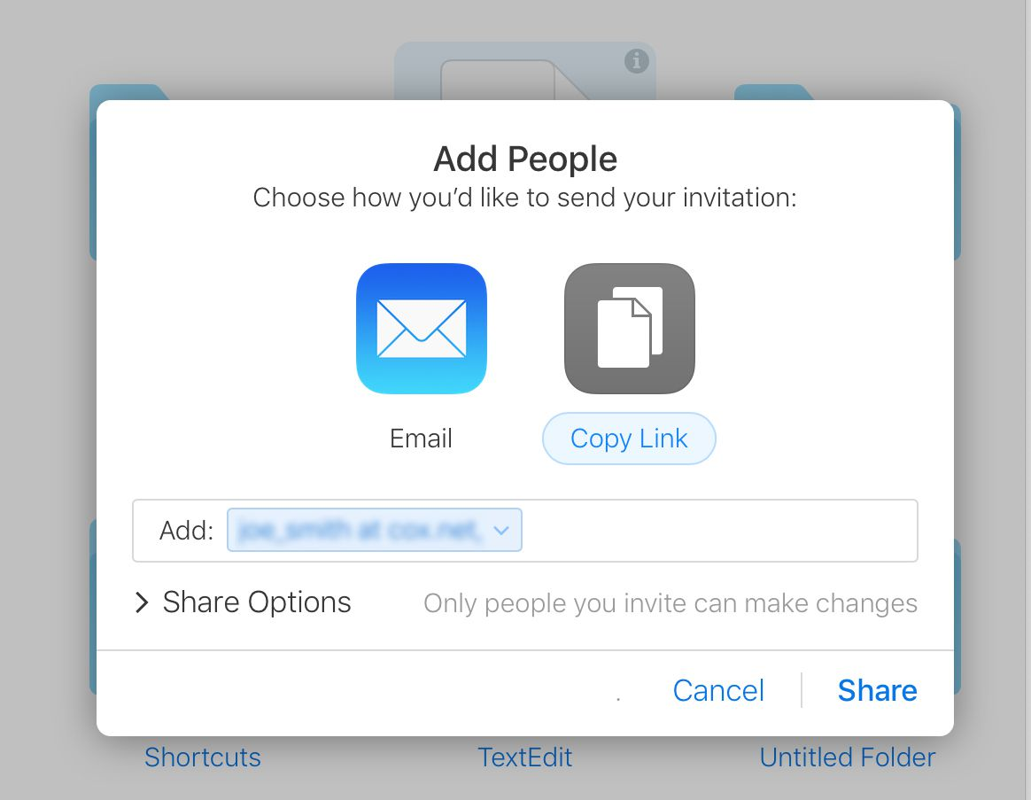Screenshot of how to add people to an icloud video