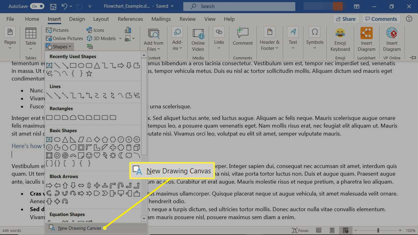 The Insert tab in Word selecting shape to create a drawing canvas