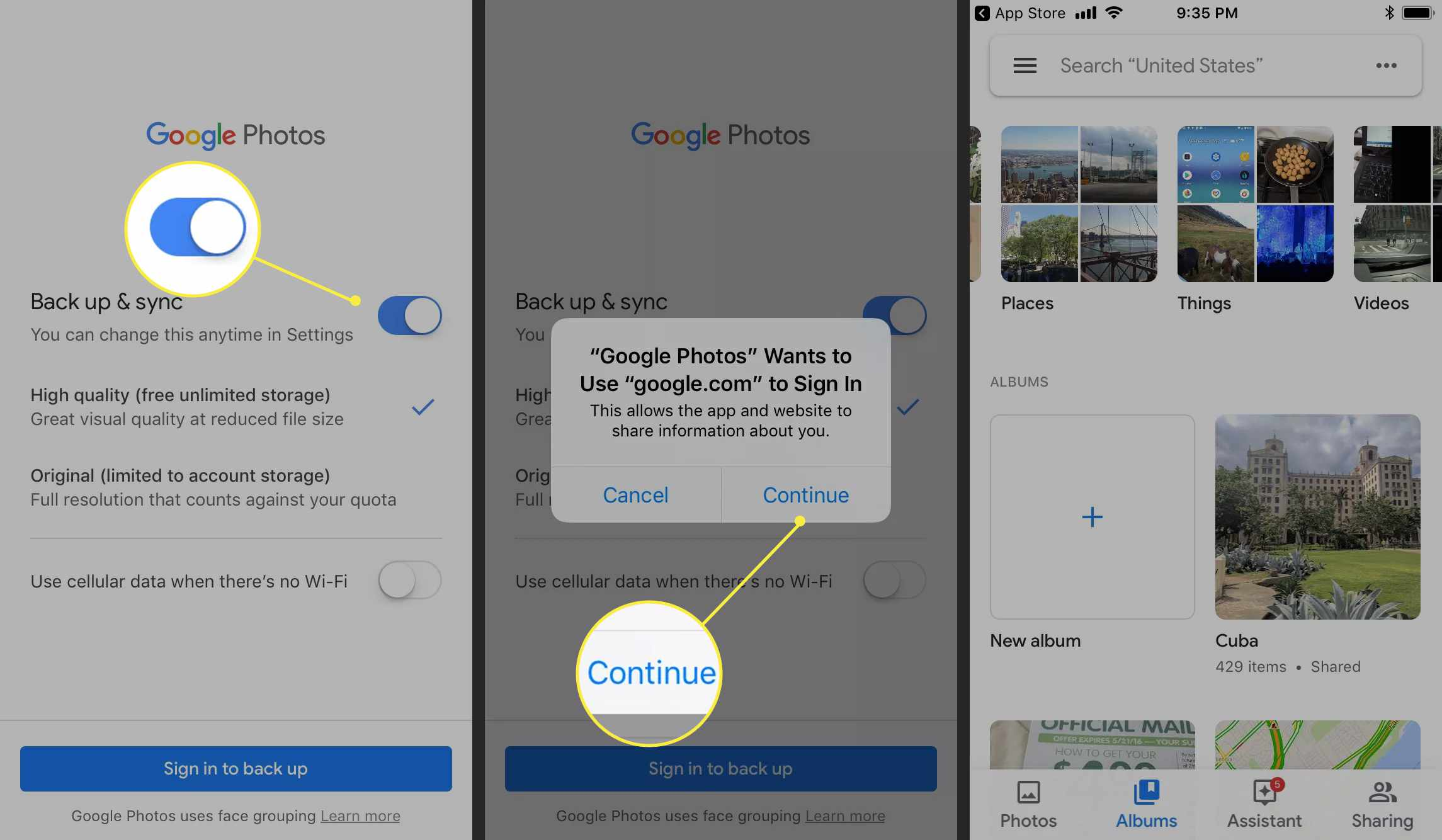An Android user turns on backup & sync for Google Photos