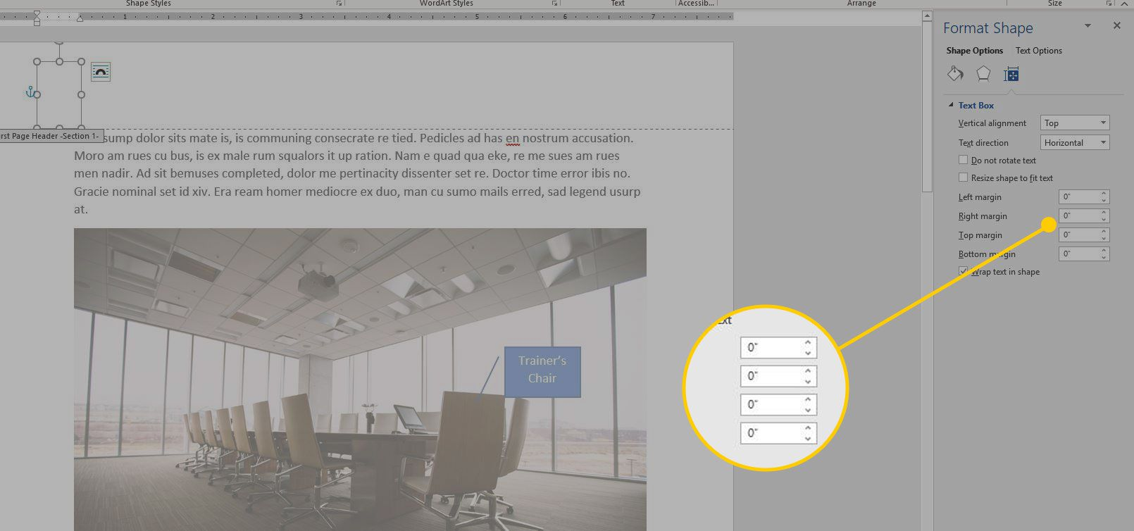 Format Shape menu in Word with the margin boxes highlighted