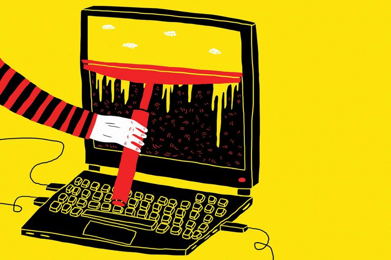 Illustration of an arm using a squeegee on the screen of a laptop, yellow background