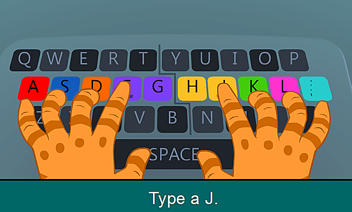 A typing lesson with colorful keys