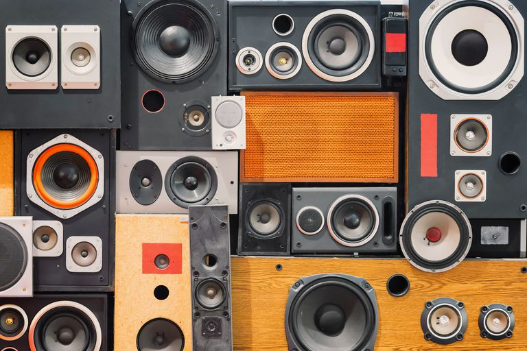 Retro speakers stacked like tetris.