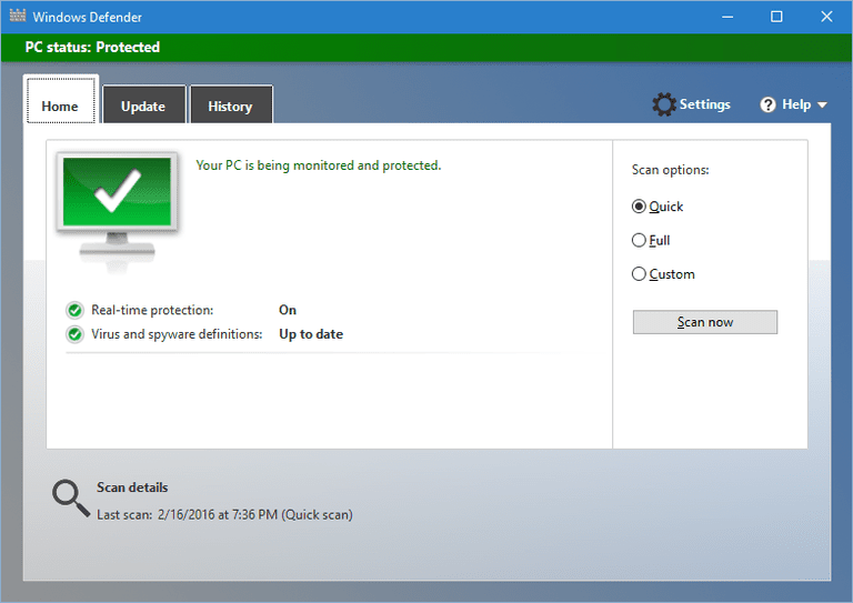 Windows Defender for Windows 10