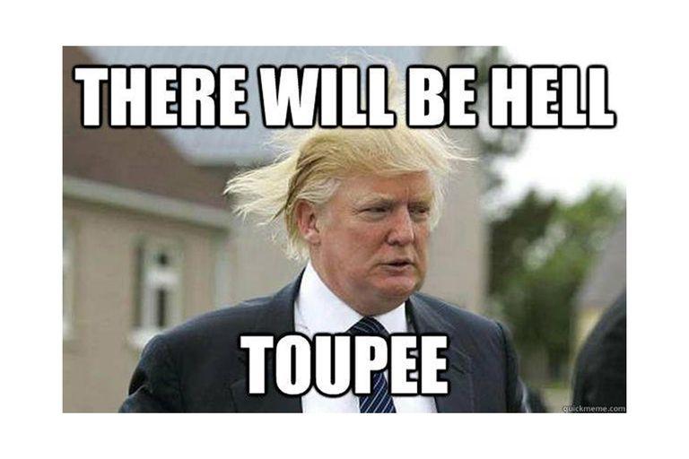 President Trump with wild hair