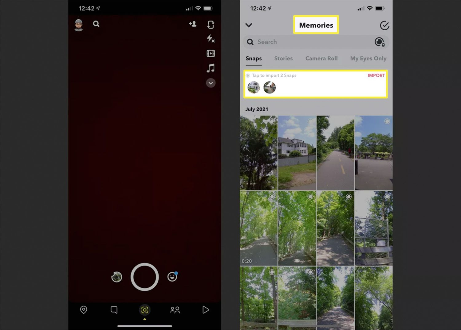Steps to import Snaps into the Snapchat app on an iPhone.