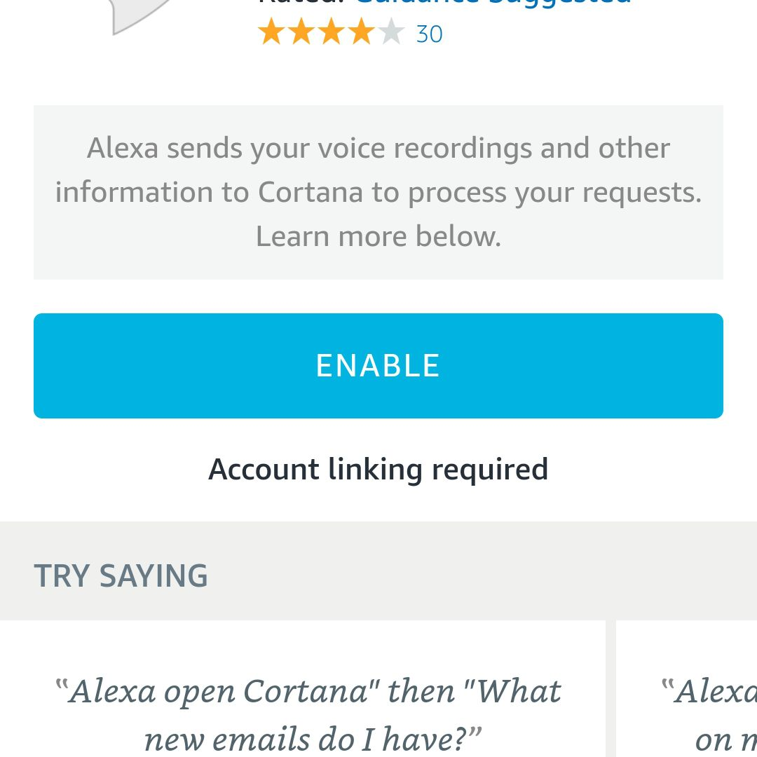 Screenshot of Enable button displayed for Cortana skill in Android Alexa app